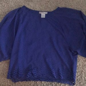 Cobalt blue crop blouse